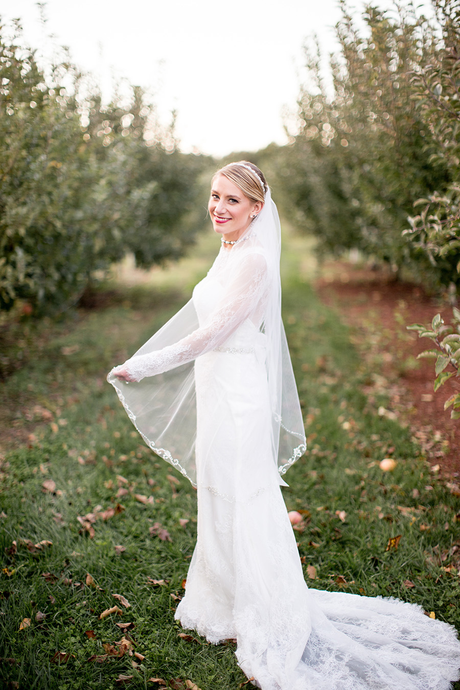 sunset wedding portraits in the apple orchard at Hill Creek Farms