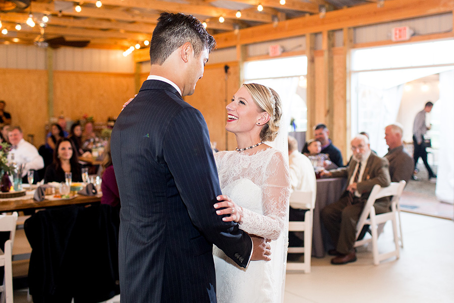 first dance inside the barn at hill creek farms