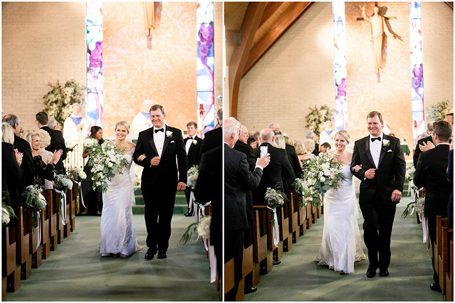 bride and groom walk down the aisle together in capemay