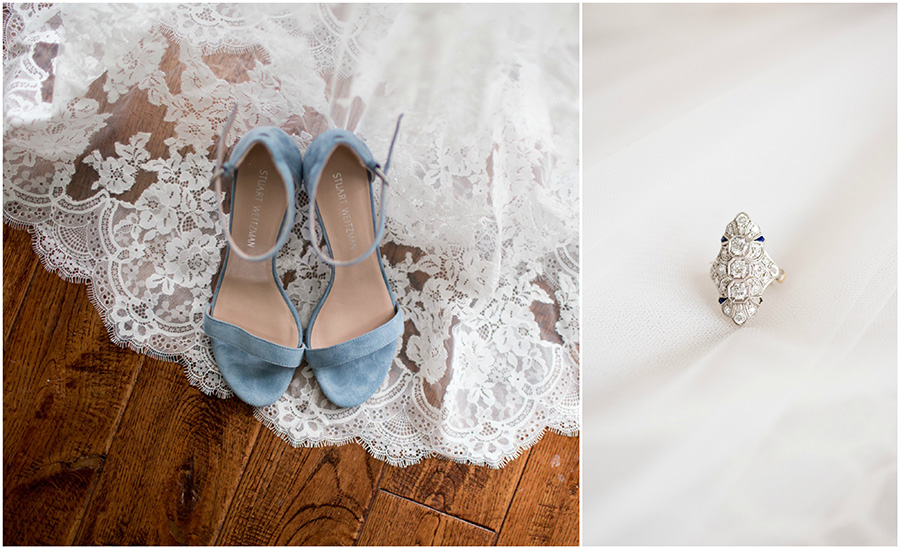 blue wedding shoes and vintage ring