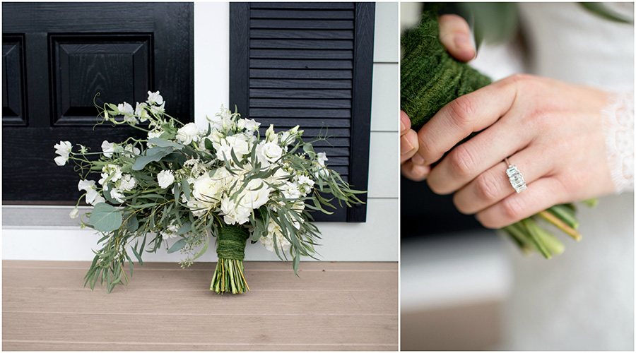 organic white and green wedding bouquet