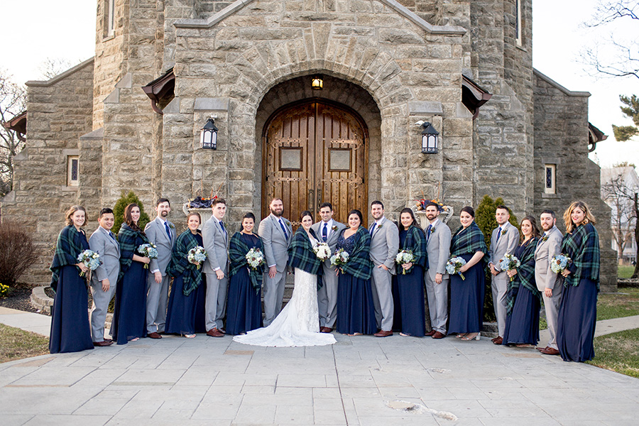 wedding party portraits outside church in new jersery