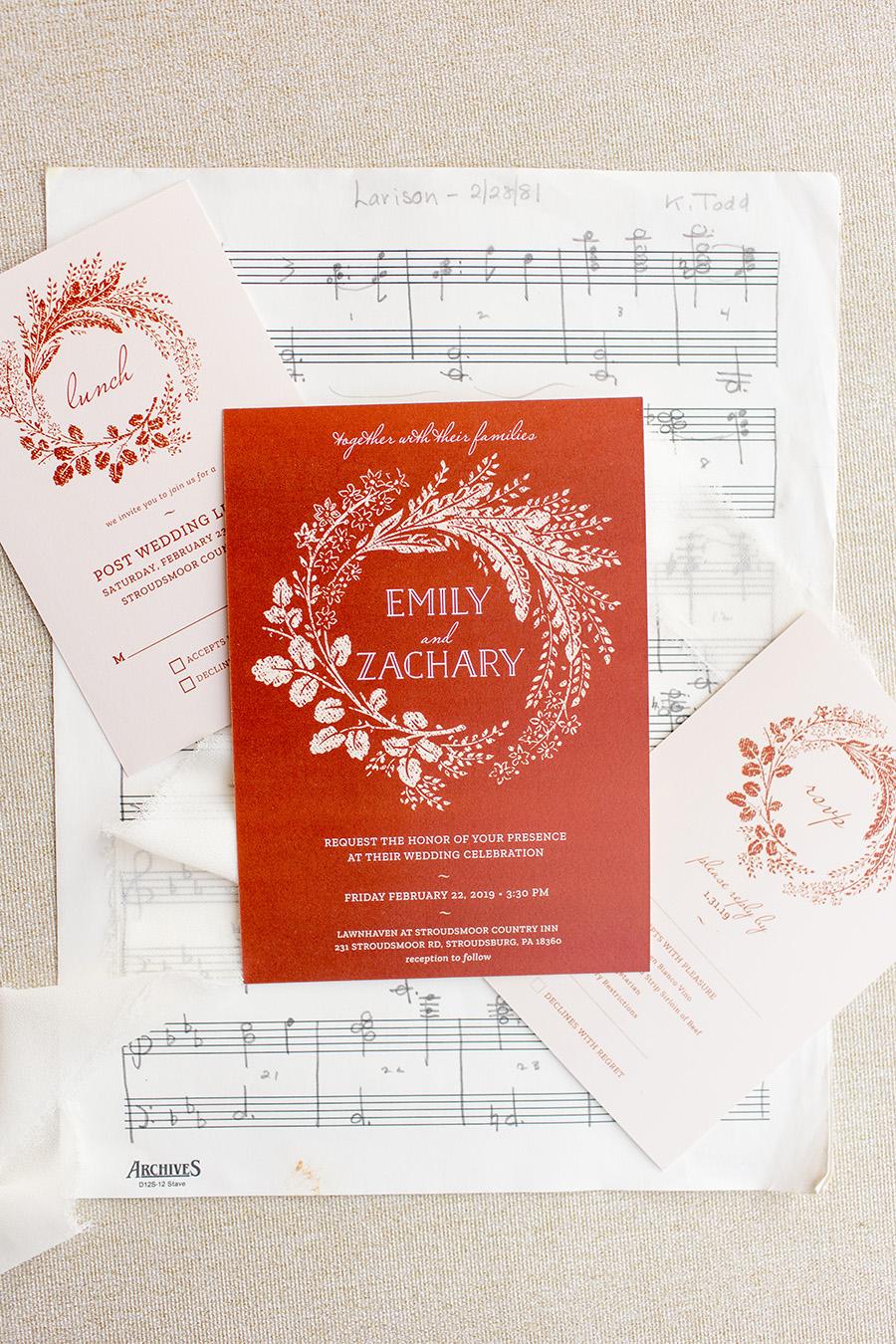 vintage sheet music invitation suite