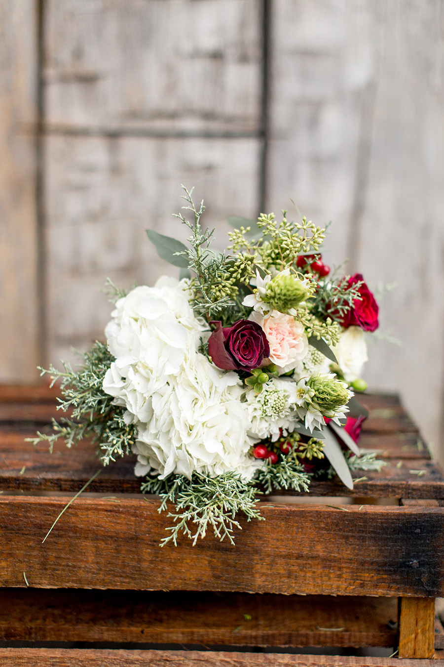 red and cream wedding bouquet