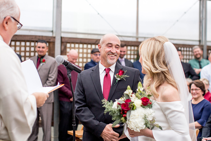 wedding ceremony in the greenhouse at terrain at styers