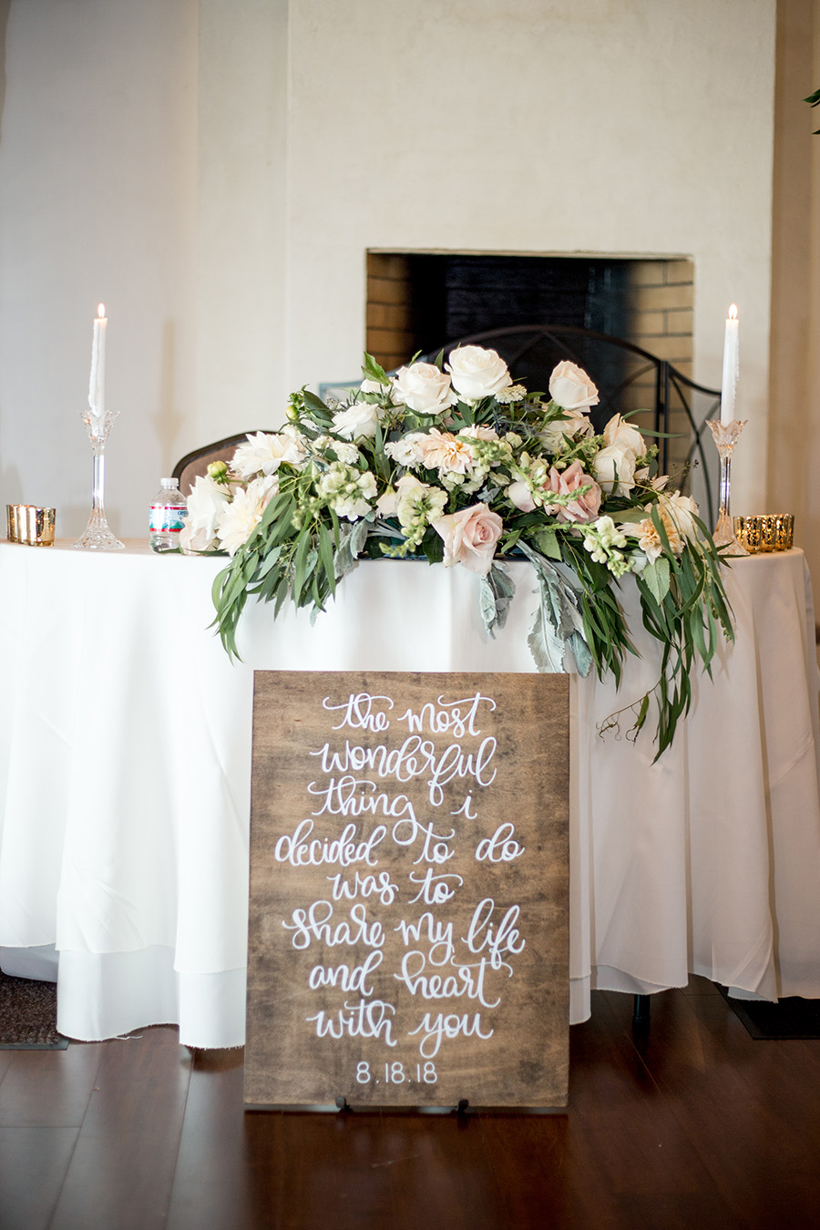 sweetheart table at the wedding reception