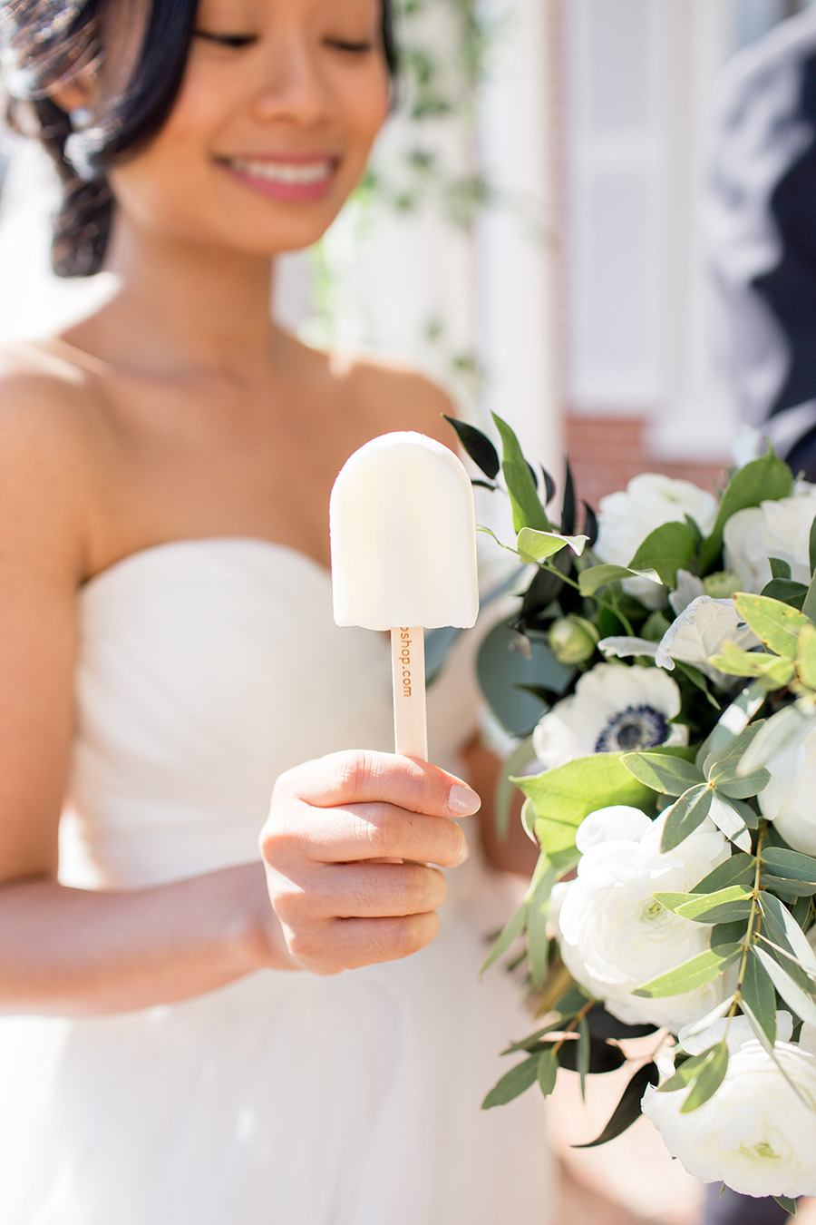 bride enjoys a popcicle