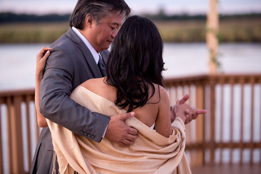 bride and her dad share a first dance