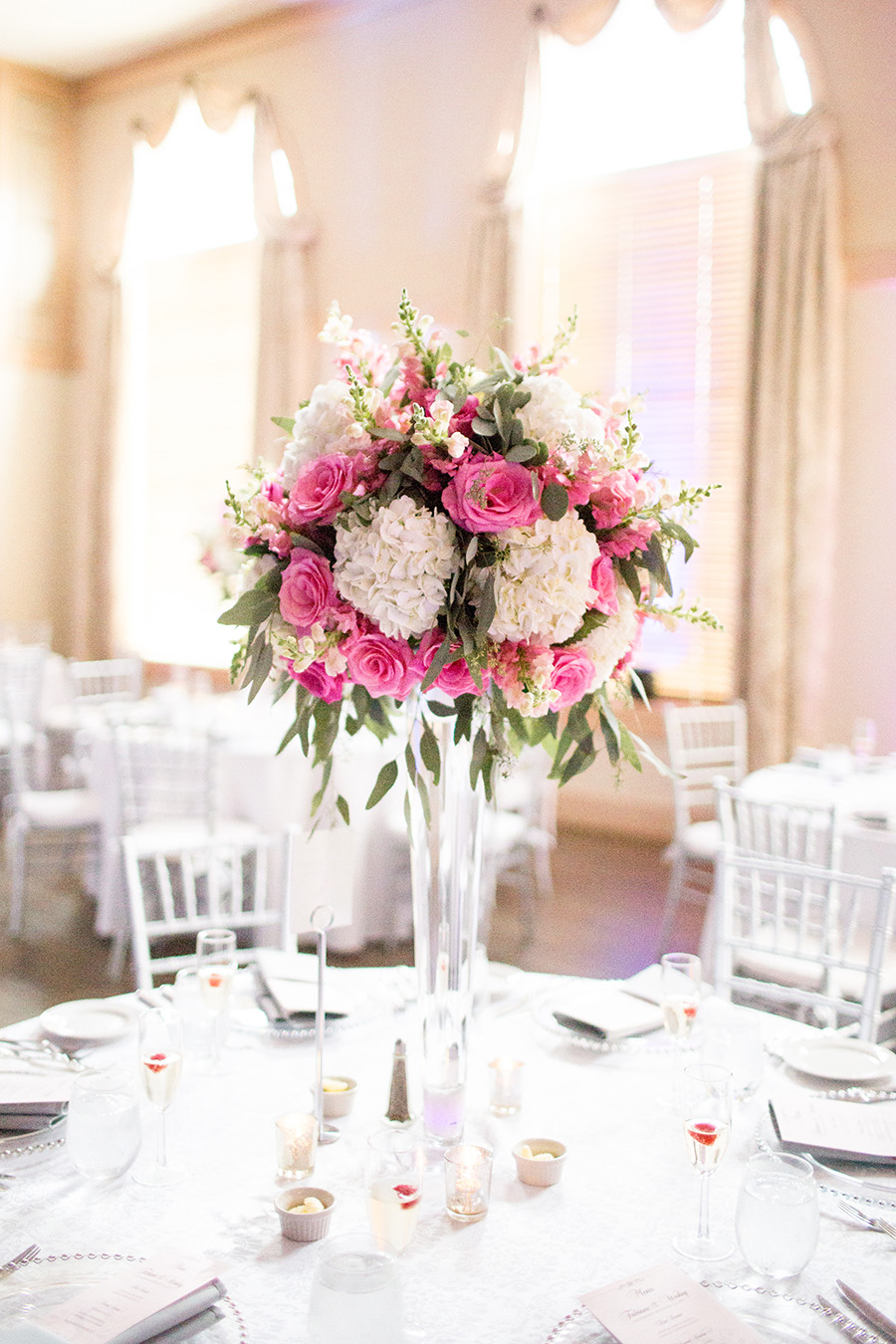 tall floral wedding centerpieces at the madison, riverside