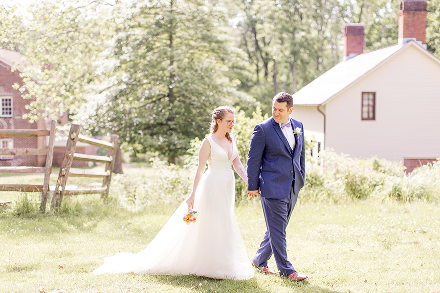 newly married couple on their wedding day at allaire state park