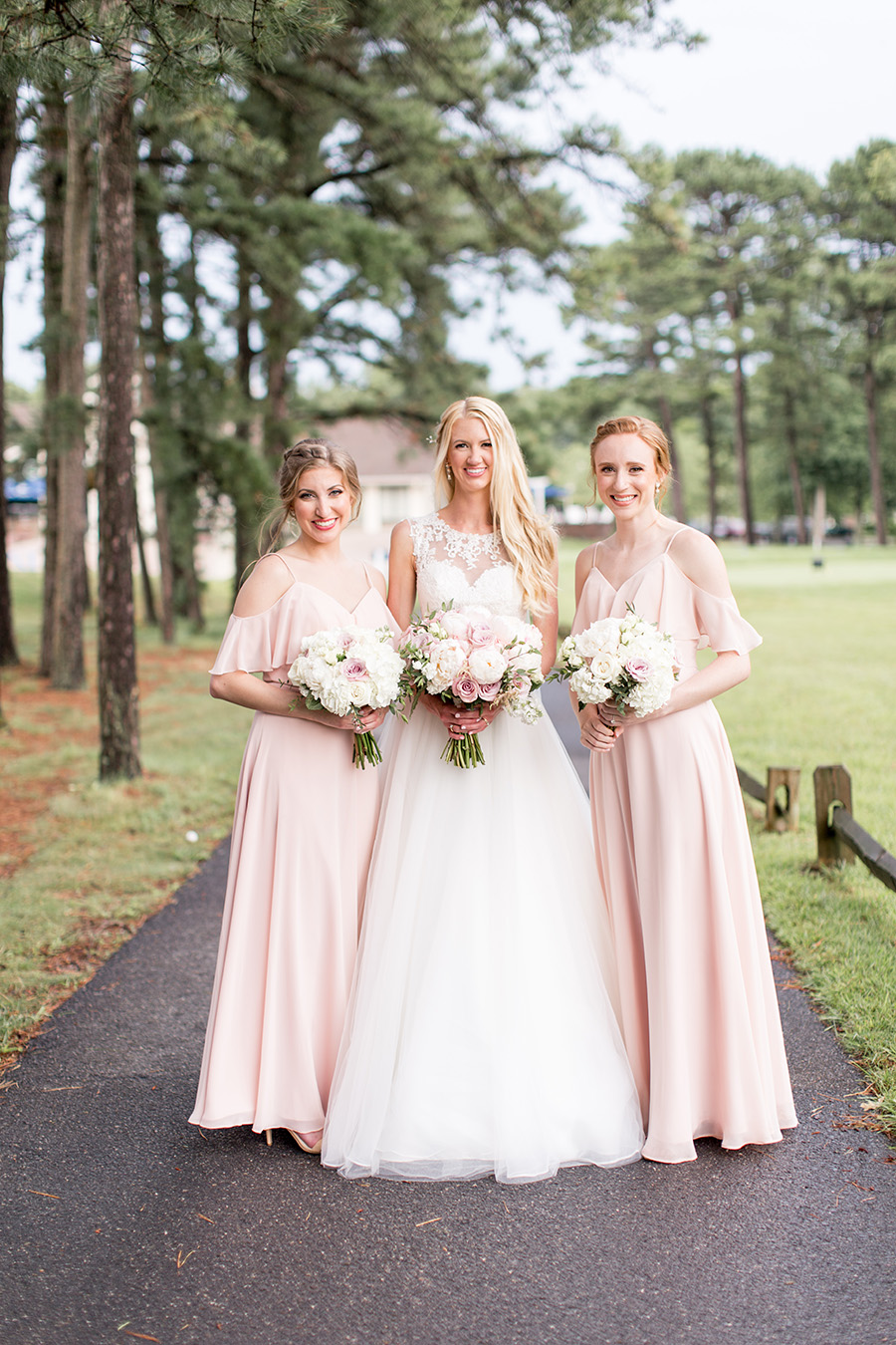 blush full length bridesmaid dresses