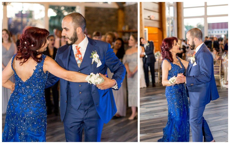 groom and his mom dance at reception at stone house at stirling ridge