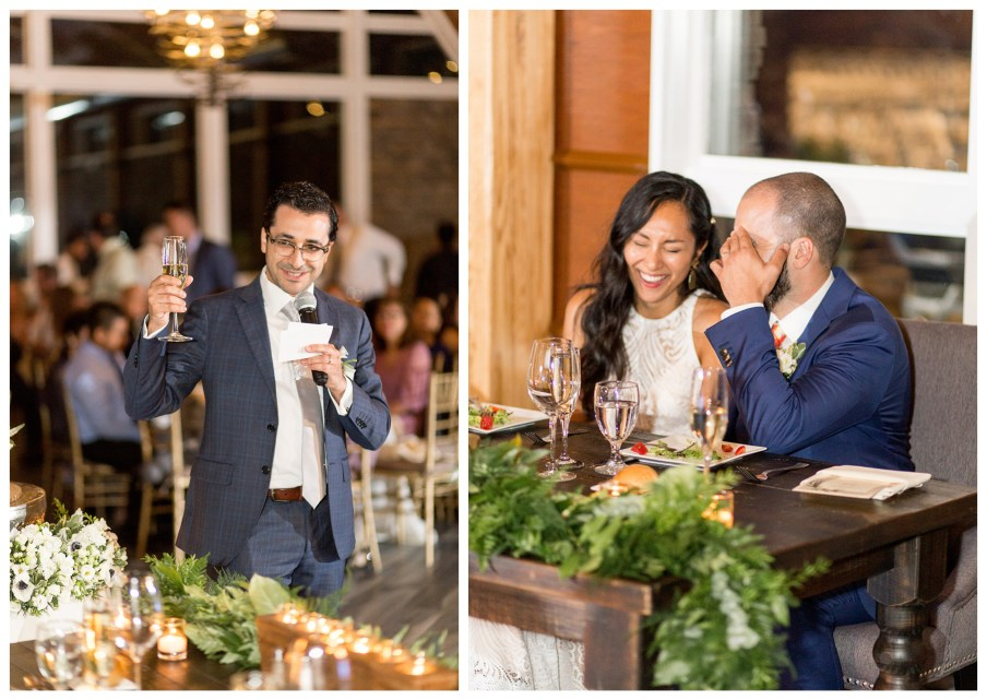 best man gives a toast at the wedding reception