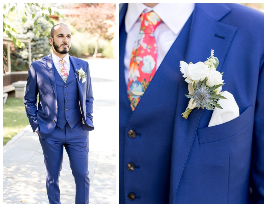 groom waits for his bride outside in the garden