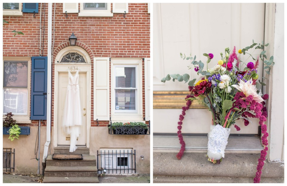 bride's dress and bouquet outside her philadelphia home