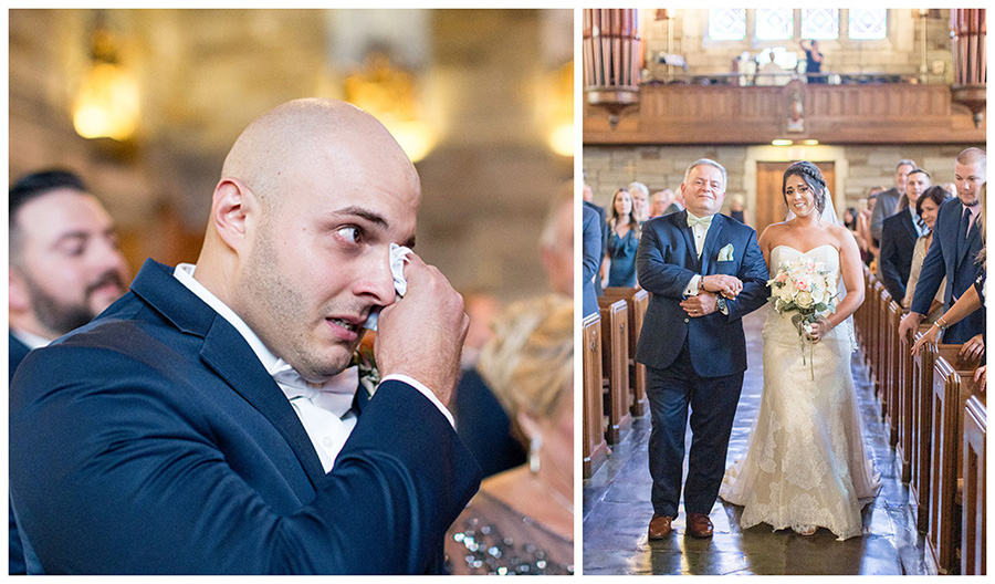 groom sees his bride for the first time at penn oaks wedding