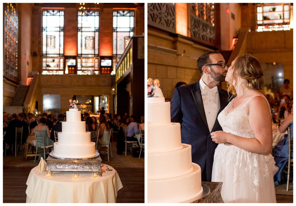 wedding cake cutting in the ballroom at union trust