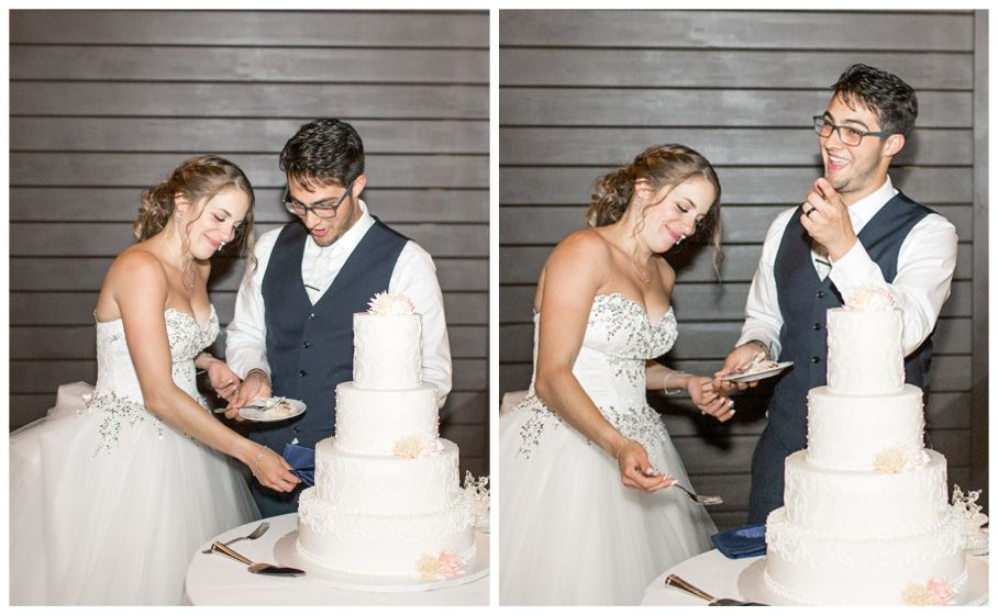 wedding cake cutting at chubb hotel and conference center