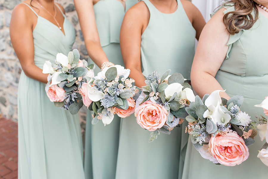 sage and coral wedding flowers