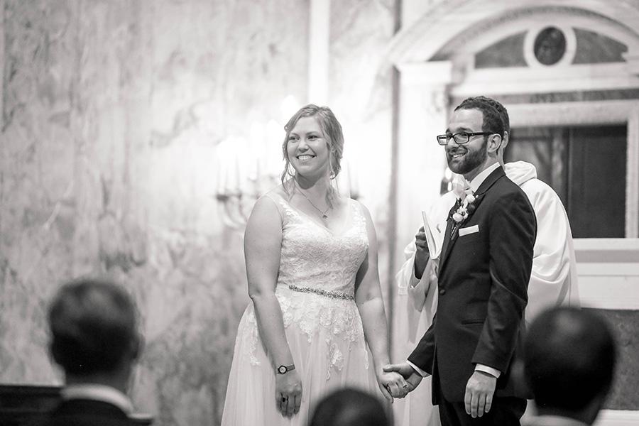 wedding couple before their reception at union trust ballroom