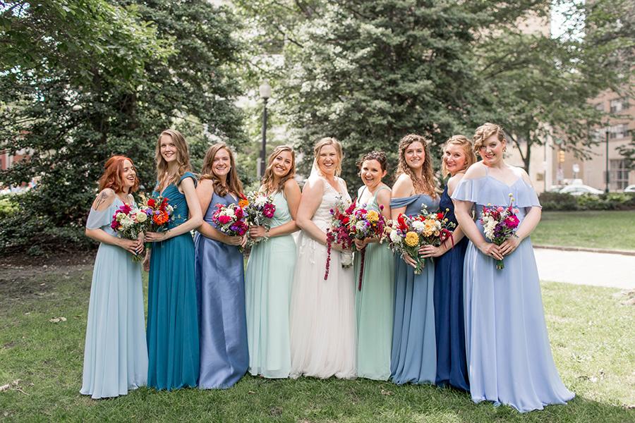 mixed blue bridesmaid dresses