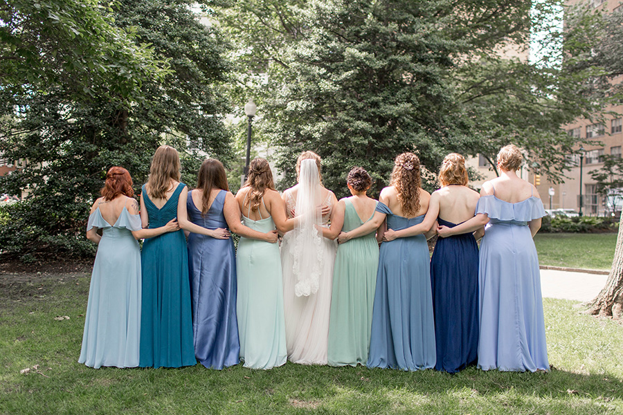 bridesmaids with the bride before the wedding reception at union trust