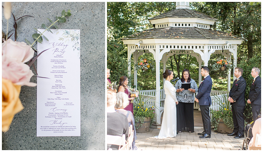 Wedding ceremony by the gazebo at the Grainhouse at Olde Mill Inn