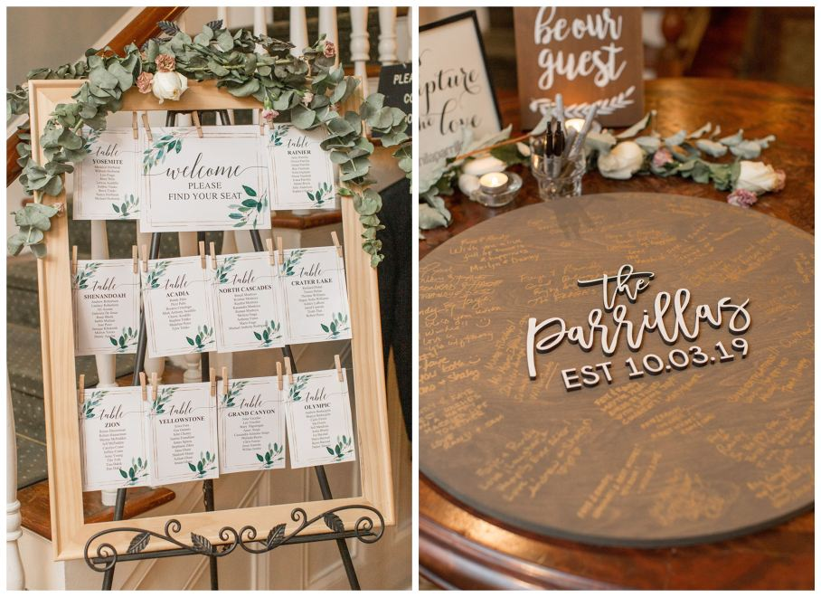 Wedding seating chart and wooden guest book