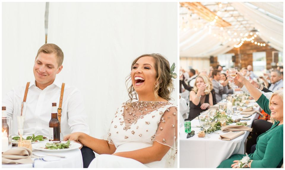 Guests at long tables at the wedding recepetion