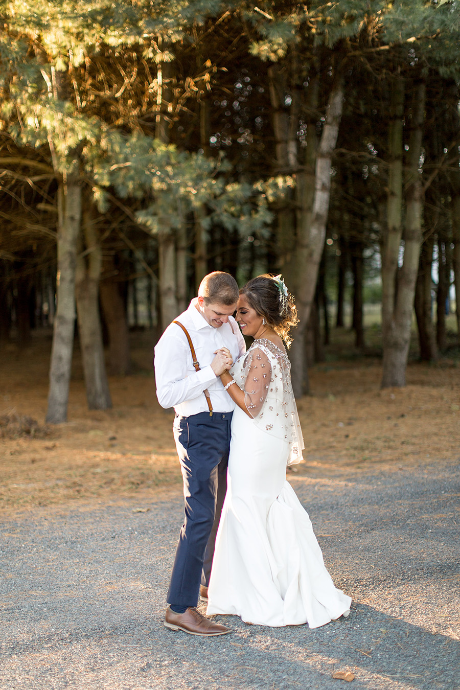 Sunset portraits with the bride and groom