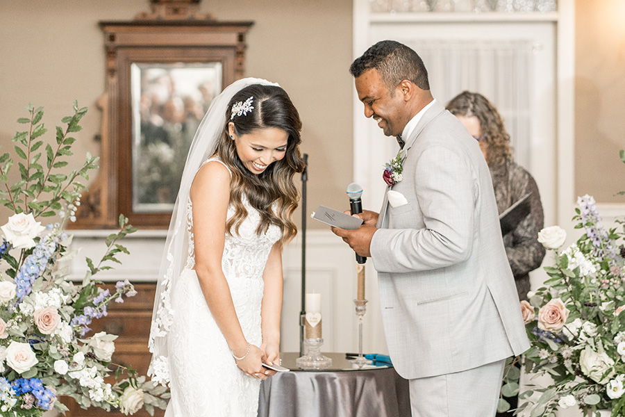 Reading wedding vows during ceremony
