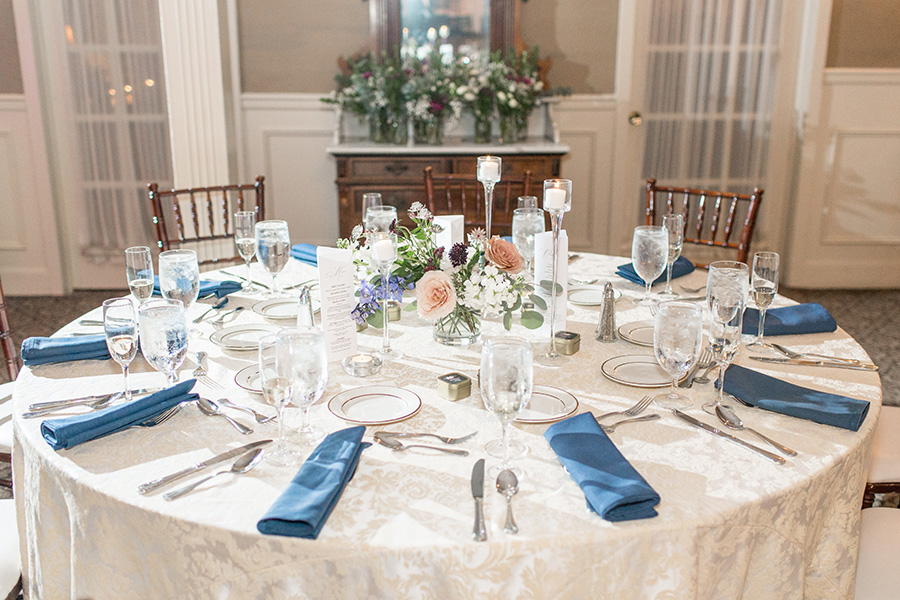 Dusty pink and blue wedding colors