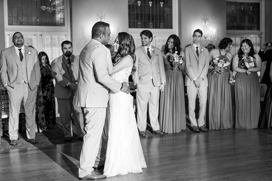 Bride and groom share first dance in the ballroom at David's Country Inn