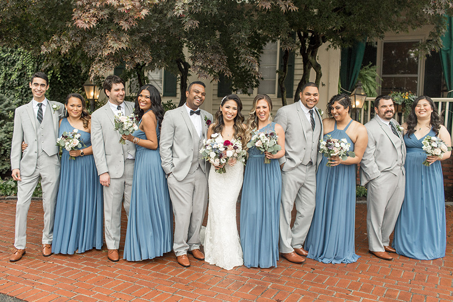 Wedding party portraits outside David's Country Inn