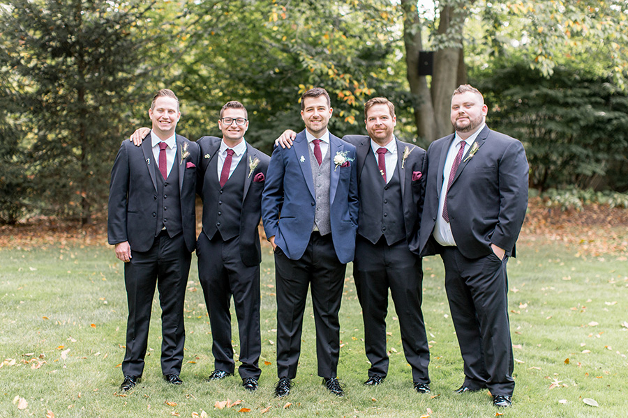 groom and his wedding party at olde mill inn
