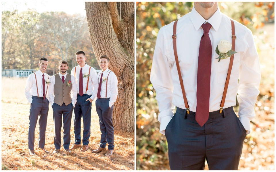 burgundy and navy groomsmen with vests and suspenders