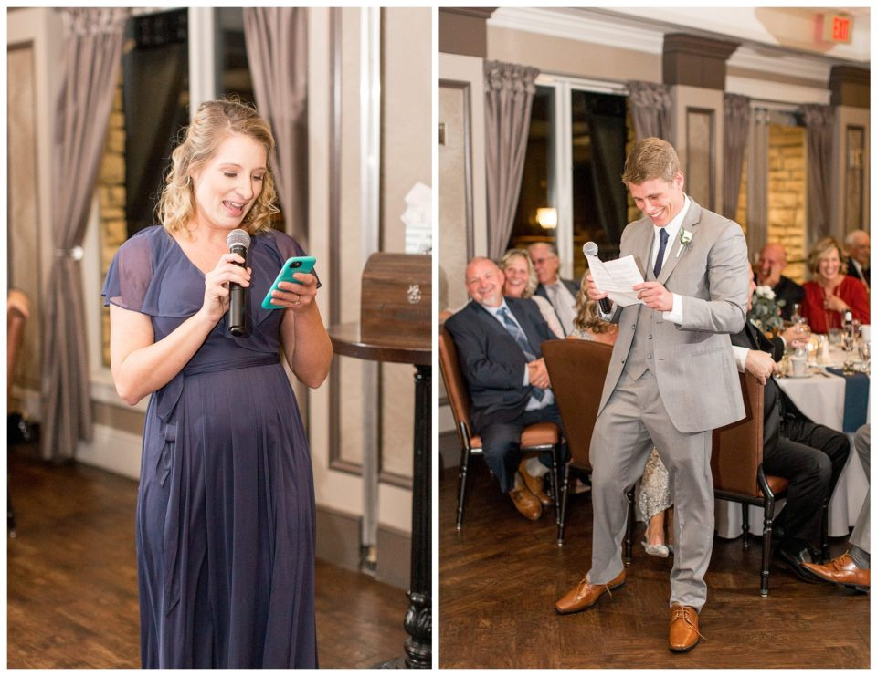 best man and maid of honor give a wedding toast