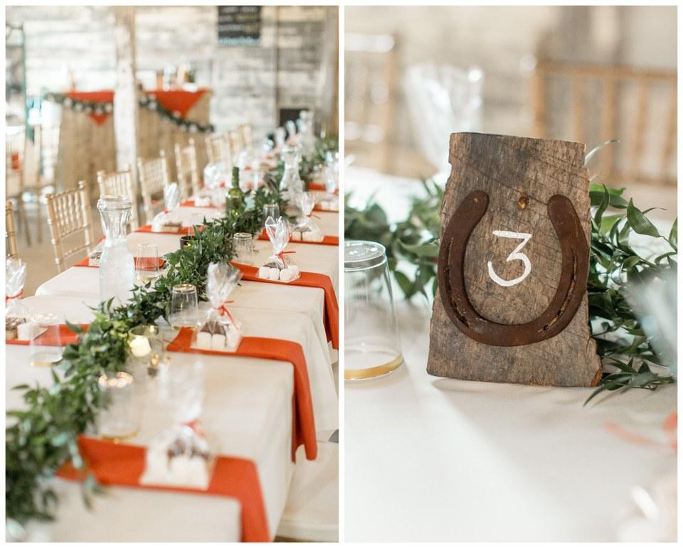 horseshoe rustic inspired orange wedding details at Eagle Manor
