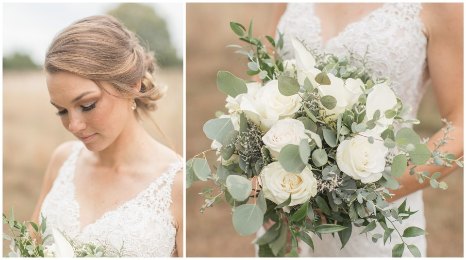 bride with a white rose wedding bouquet