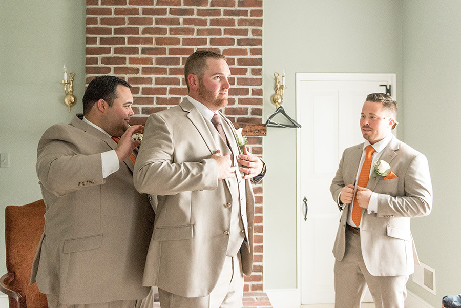 groom and his groomsmen get ready at Eagle Manor