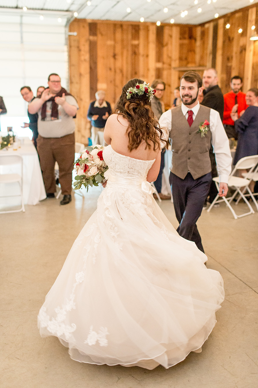 bride twirls on dance floor at Turkey Trac