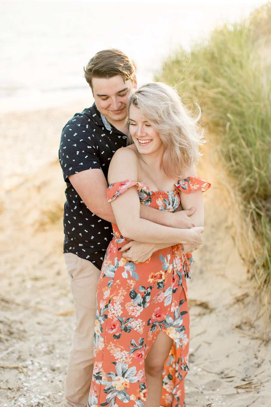 sunset engagement portraits on the beach in fortescue