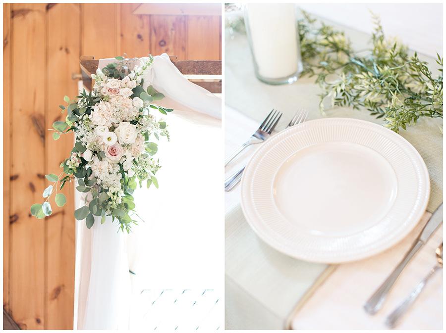 Green, blush and cream wedding reception details