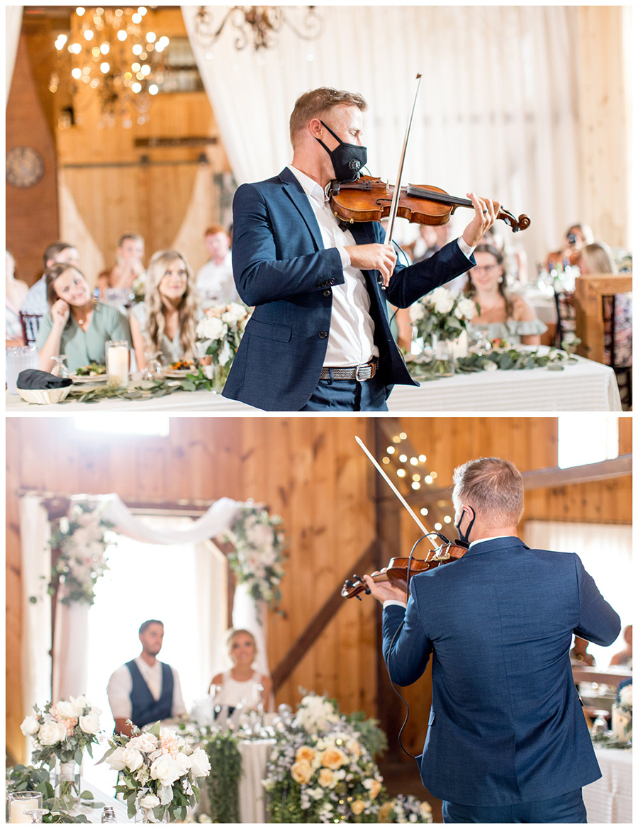 violinist plays for the wedding couple