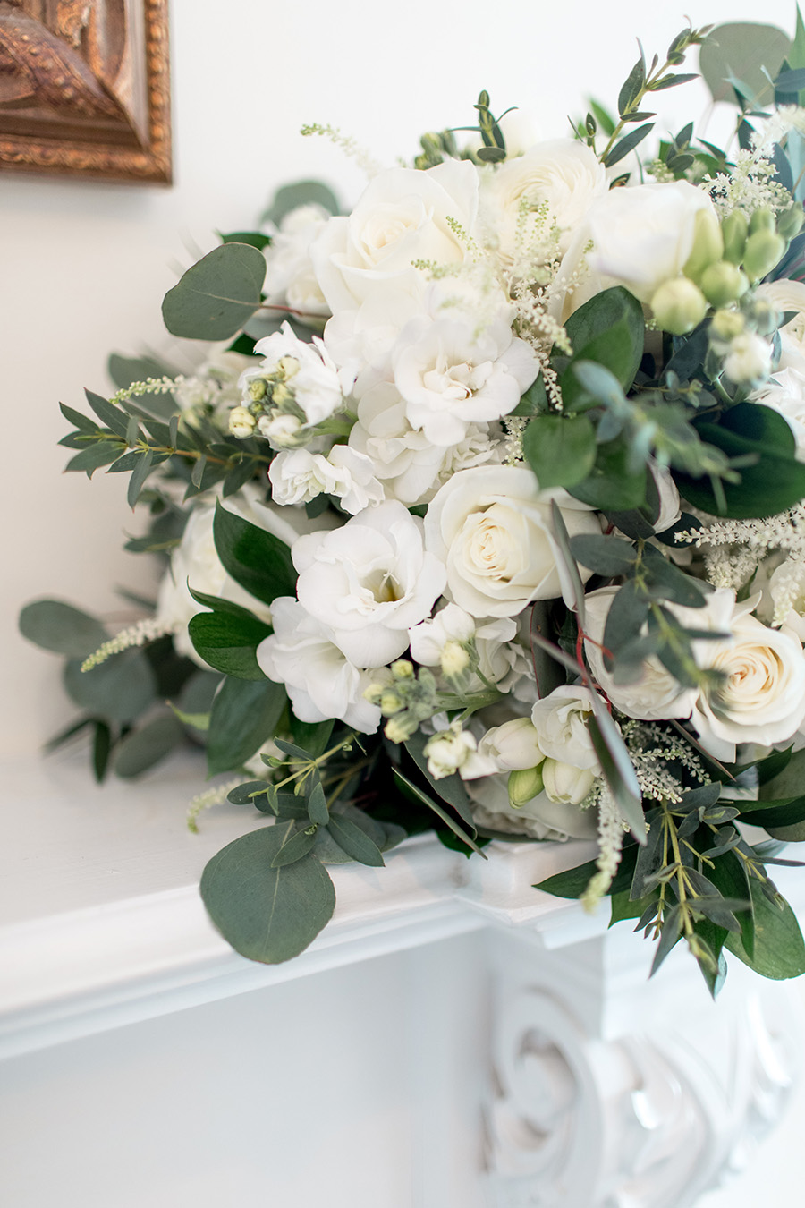 white and light green wedding bouquet