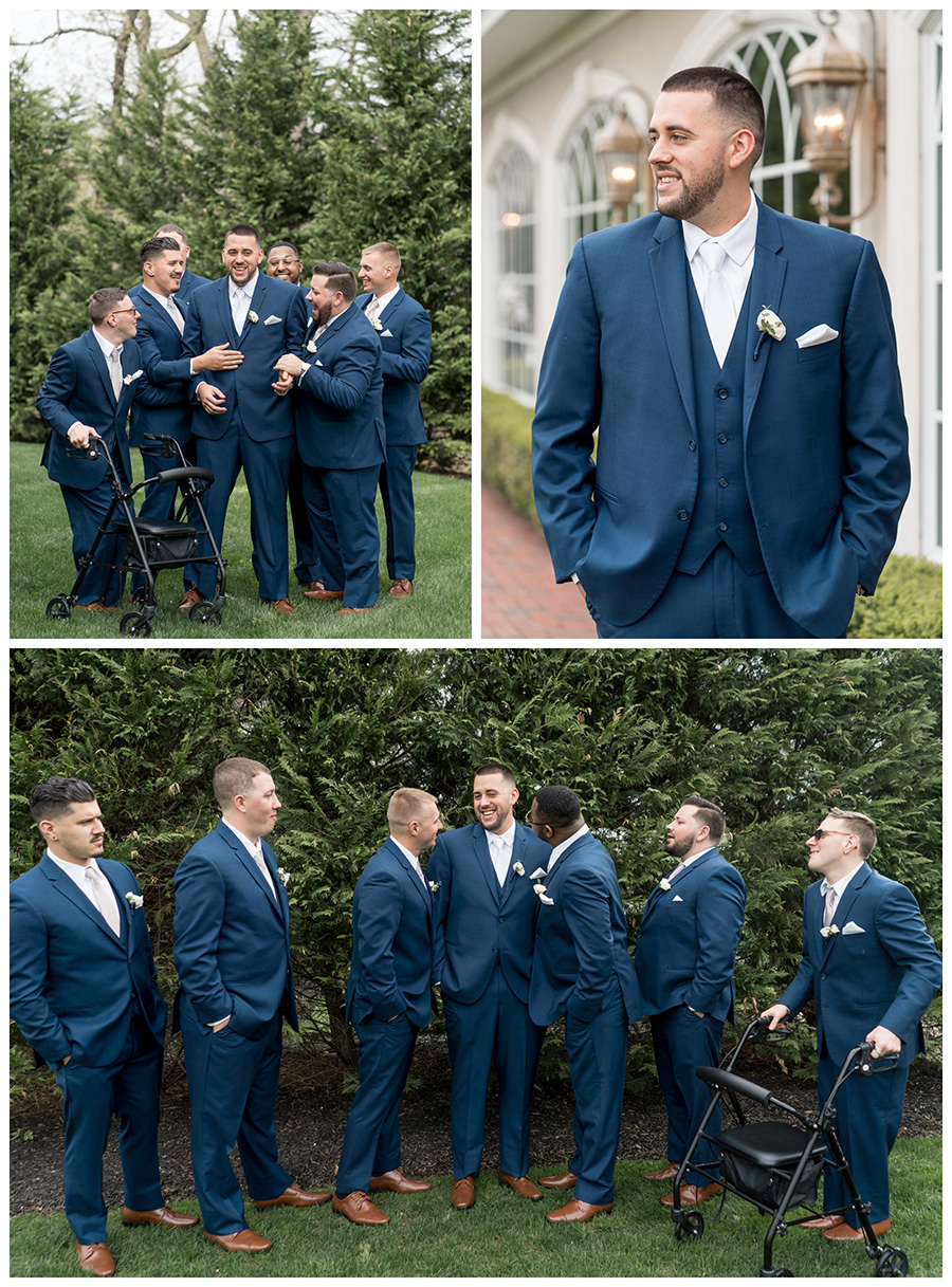 groom and his groomsmen in navy tuxes with white accents