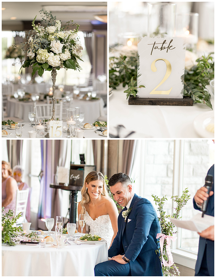 cream and white wedding reception florals and centerpieces