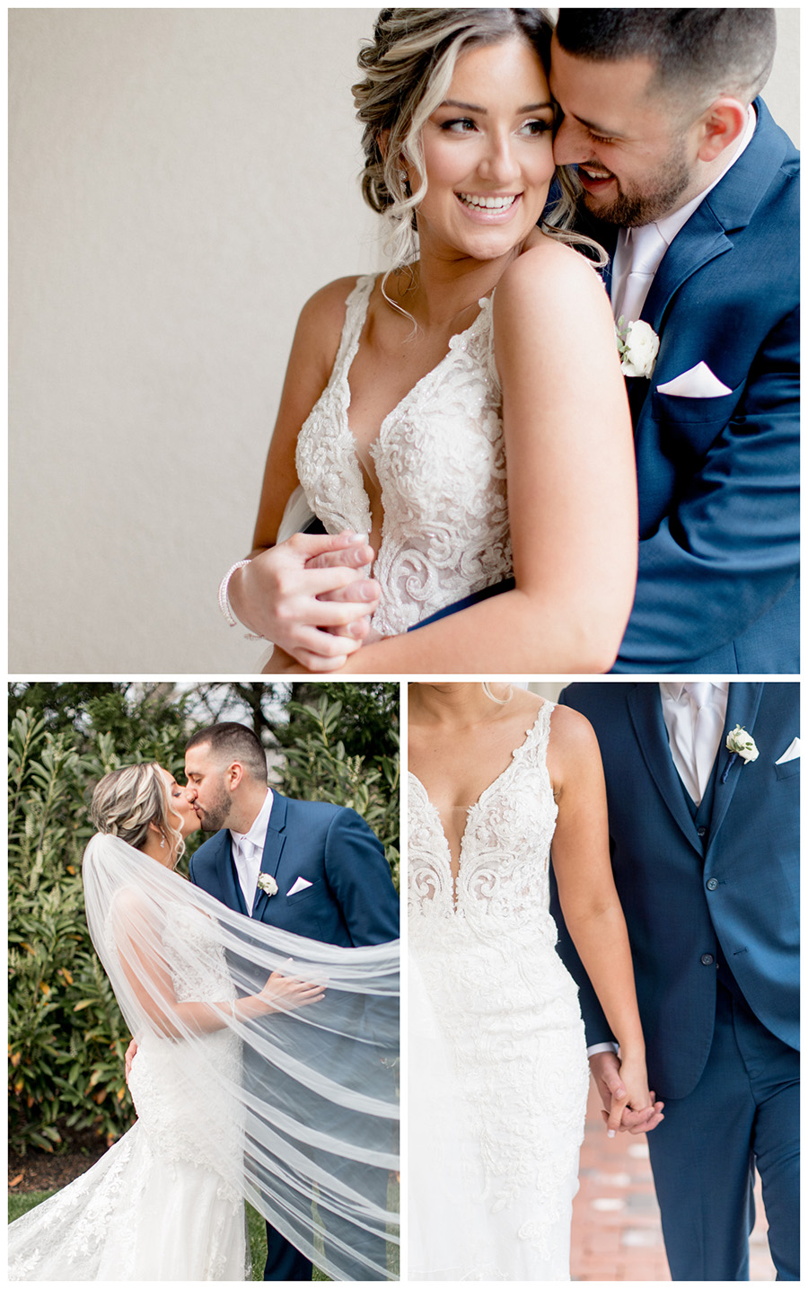 Tuscan inspired wedding dress with cathedral length veil and lace bodice