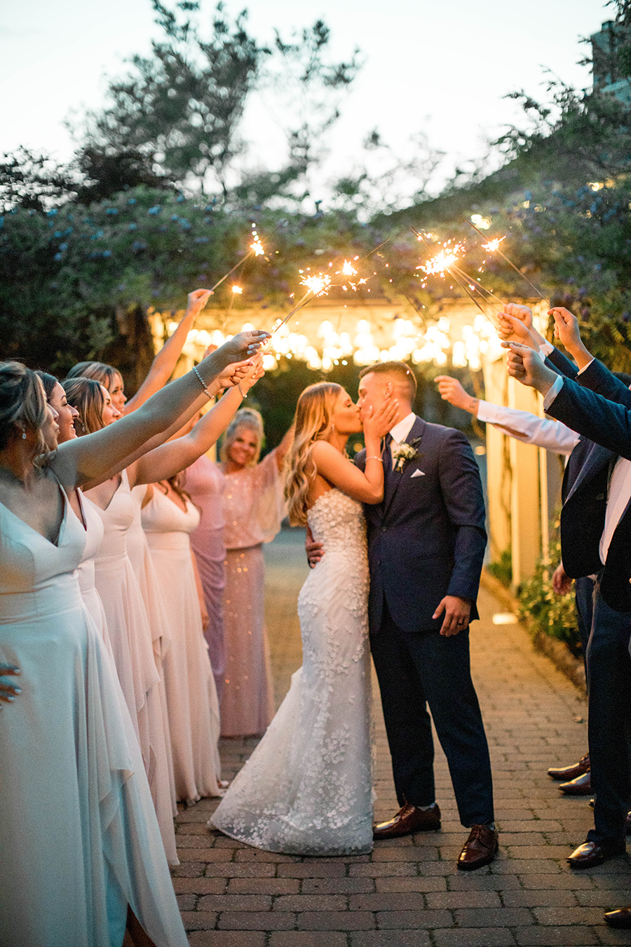 Wedding night sparkler send off pictures with the bridal party