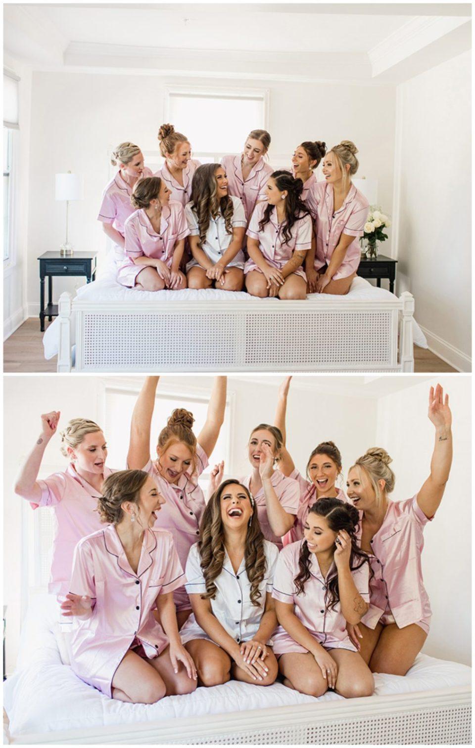 bridesmaids getting ready in matching pink silk pajamas
